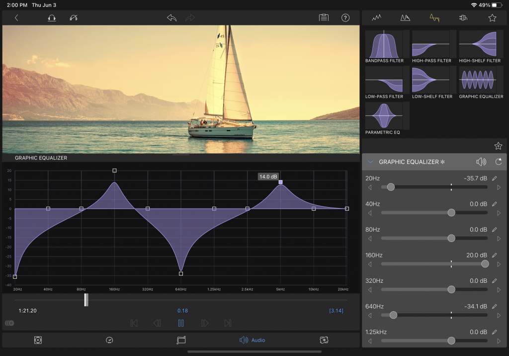 LumaFusion Audio Equalizer User Interface 3.0