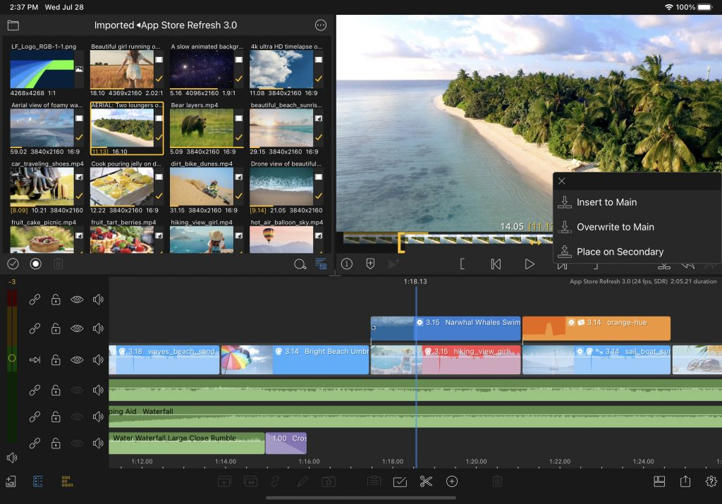 LumaFusion Send To Timeline Button User Interface 3.0