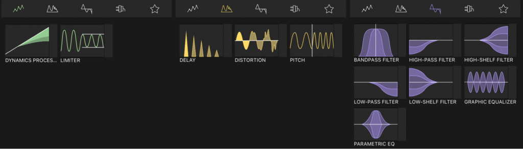 Audio Effect Categories introduced in LumaFusion 3.0